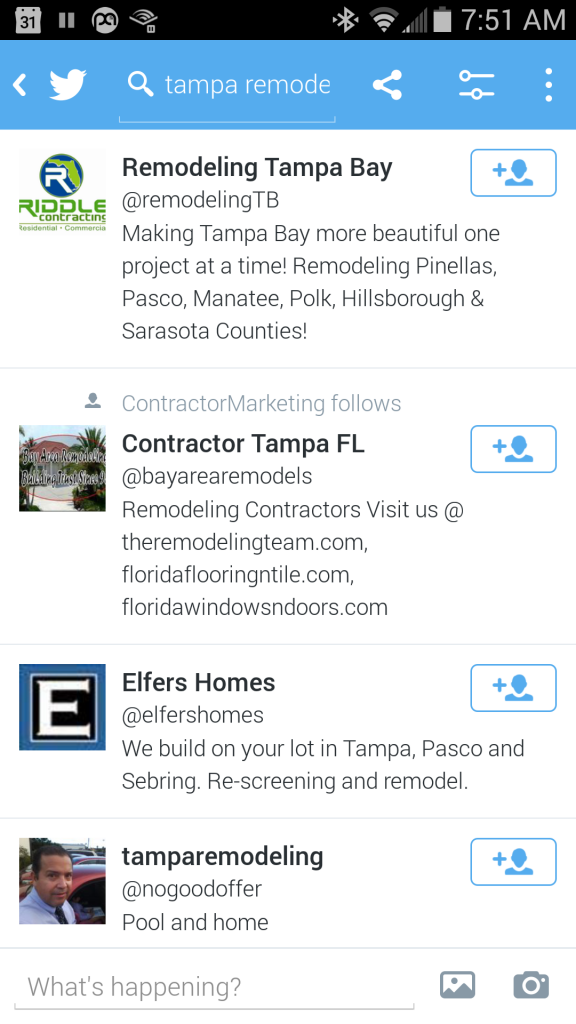Tampa,FL Twitter for Contractor Marketing